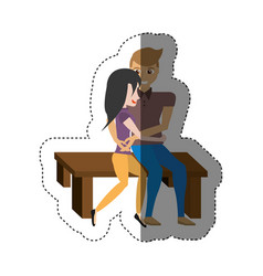 Couple love embracing sitting in bench shadow vector