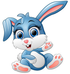 cute bunny waving hand vector image