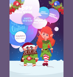 cute elfs couple greeting with merry christmas and vector image