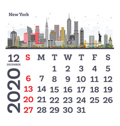 December 2020 calendar template with new york vector
