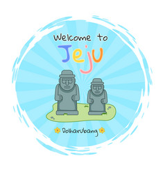 Dolharubang statue welcome to jeju sticker image vector