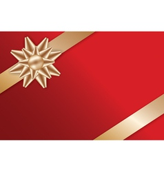 Festive Golden Bow on red background vector image