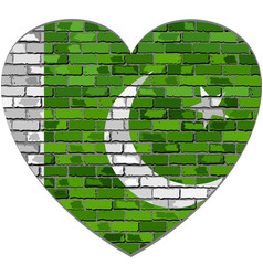 flag of pakistan on a brick wall in heart shape vector image