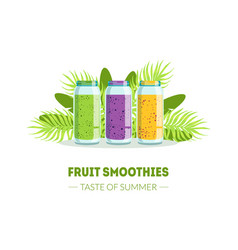 fresh smoothies taste summer banner template vector image