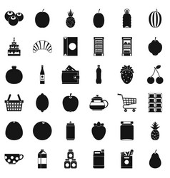 Fruit and drink icons set simple style vector