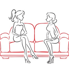 Girlfriends talking sitting on sofa vector image