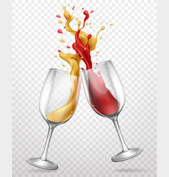 Glass goblets with splashing wine realistic vector