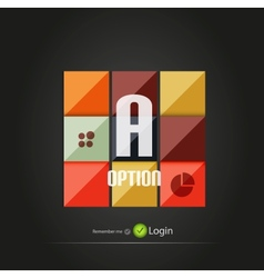 Glossy square option buttons vector image