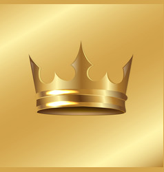 golden crown isolated golden background vector image