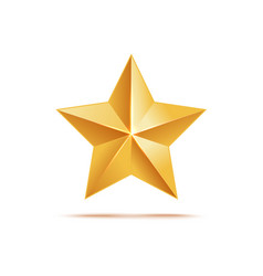 golden star icon award metallic symbol and sign vector image