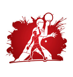 group ping pong players table tennis players vector image