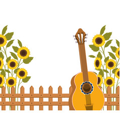 Guitar with sunflowers isolated icon vector