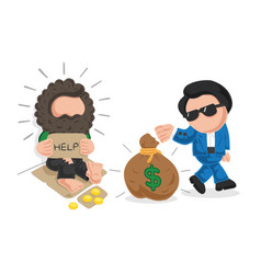 Hand-drawn cartoon of rich man giving money bag vector