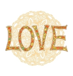 hand drawn colorful text love isolated vector image