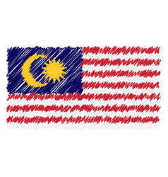 hand drawn national flag of malaysia isolated on a vector image