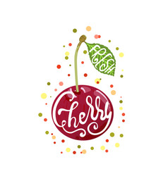 hand sketched cherry lettering typography vector image