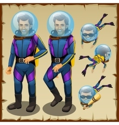 Handsome diver man cartoon character animation vector image