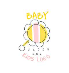 happy baby kids logo colorful hand drawn vector image