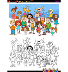 Happy children characters group coloring book vector