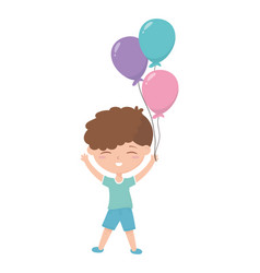 Happy childrens day little boy with balloons vector