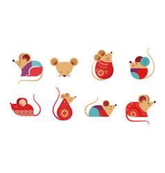 happy chinese new year design 2020 rat zodiac vector image
