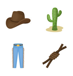 Hat cactus jeans knot on the lasso rodeo set vector