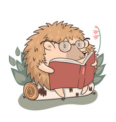 Hedgehog reads isolate on a white background vector