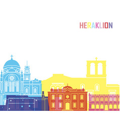 heraklion skyline pop vector image