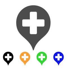 Hospital cross map marker flat icon vector