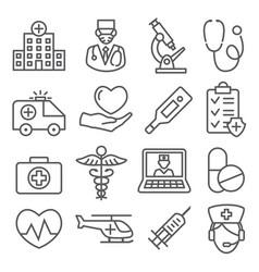 hospital line icons set on white background vector image