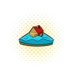 House sinking in a water icon comics style vector