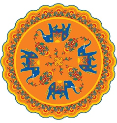 Indian Elephant Pattern Rosette vector