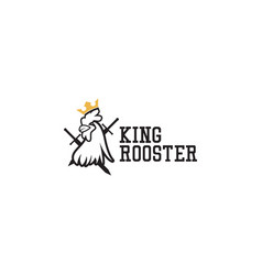 King rooster logo icon flat template design vector