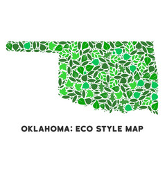 leaf green mosaic oklahoma state map vector image