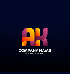 Letter ak initial logo with colorful vector