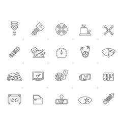 line auto service and car part icons vector image