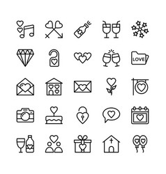 love and valentine line icons 2 vector image