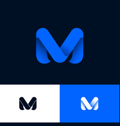 M logo blue ribbons origami monogram web icon ui vector