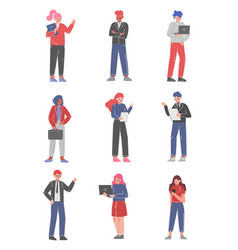 male and female business character collection vector image
