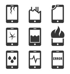 Mobile phone damage icon set vector