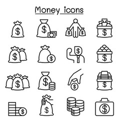 Money cash bank note coin icon set in thin line vector