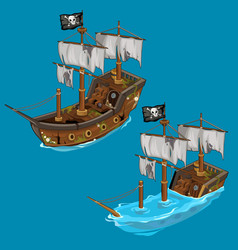 Old classic pirate ship on water and flooded vector