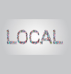 People crowd gathering in shape local word vector