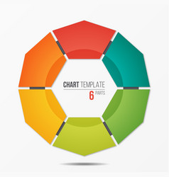 Polygonal circle chart infographic template with 6 vector