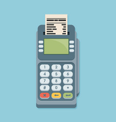 Pos terminal in flat style on blue background vector