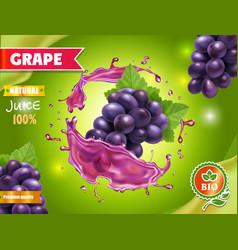 red grape in realistic juice splash advertising vector image
