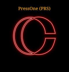 Red neon pressone prs cryptocurrency symbol vector