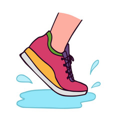 running shoe with water vector image