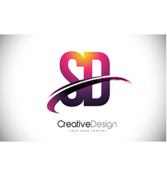 Sd s d purple letter logo with swoosh design vector