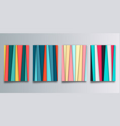 set abstract background with colored stripes vector image